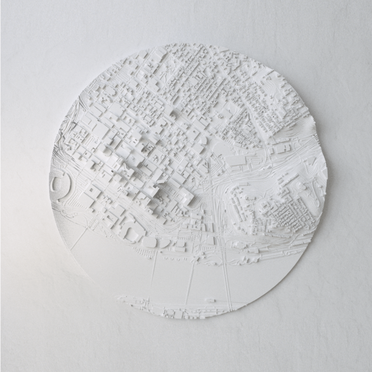 """48"""" round 3d topographical wall art"""