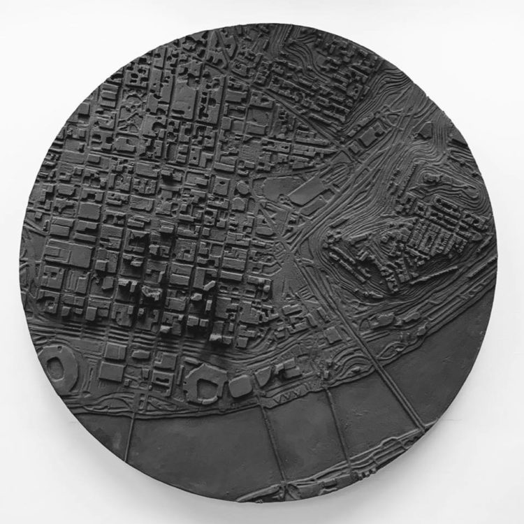 3D Topographical map of downtown Cincinnati mounted on a white wall